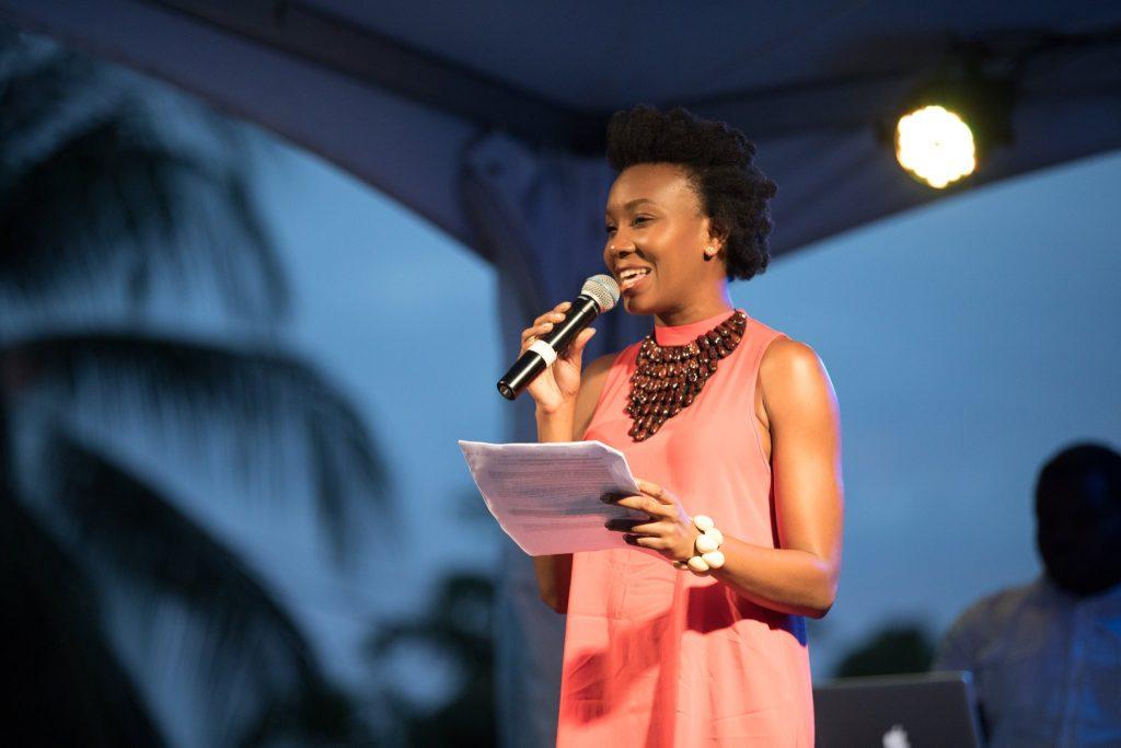 Chrislyn Lashington Hosting on stage at Grenada Chocolate Festival 2018